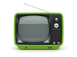 grüner Retro-Fernseher auf weißem Hintergrund