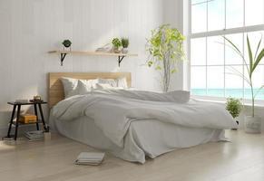 Innenarchitektur eines Schlafzimmers im skandinavischen Stil in 3D-Rendering foto