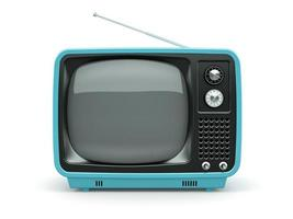blauer Retro-Fernseher auf weißem Hintergrund