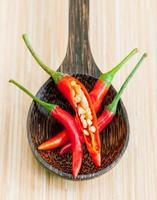 Chilis in einem Löffel foto