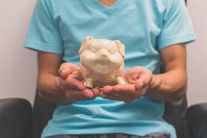 Hand hält ein Sparschwein