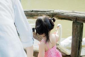 Mädchen füttert Schwäne foto
