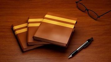 3d von Büchern und Bleistift auf Tischhintergrund foto