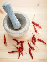 rote Chilis und Mörser