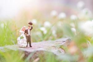 Miniaturpaar im Garten, Valentinstagskonzept foto
