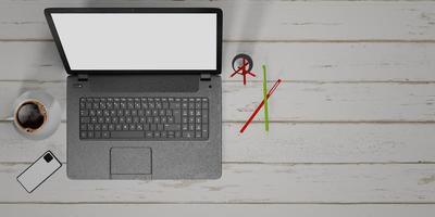 3d Illustration eines Notizbuchs auf weißem Holzmaserungstisch mit einem Bleistift, Telefon und Kaffeetasse foto