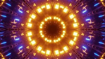 irisierende 3D-Illustration von sich wiederholenden leuchtenden Kreisen foto