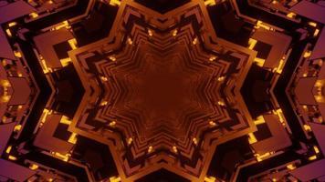 dekorative 3d Illustration der sich wiederholenden orange Schneeflockenformen foto