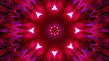 3d Illustration der kaleidoskopischen Blumenverzierung mit symmetrischen Neonlichtern foto