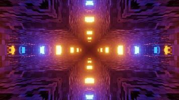 leuchtende Lichter, die abstrakte Verzierung in der 3D-Illustration beleuchten foto
