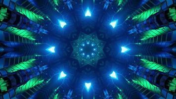 3D-Illustration von abstrakten geometrischen Verzierungen mit blauer und grüner Beleuchtung foto