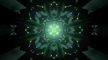 3d Illustration der grünen Neonfraktalverzierung mit geometrischen Figuren foto
