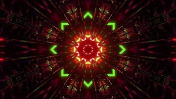 3d Illustration des Ziertunnels mit Neonlichtern foto
