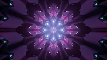 glänzende blumenförmige Verzierung mit 3D-Illustration der Neonbeleuchtung foto