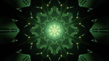 glänzende grüne geometrische Blumenverzierung 3d Illustration foto