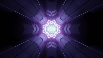 virtueller Tunnel in der purpurroten Neonbeleuchtungs-3D-Illustration foto