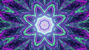 grüne und violette geometrische Blume Neonbeleuchtung 3d Illustration foto
