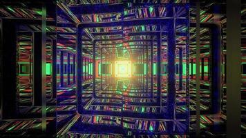 3d Illustration des chaotischen Labyrinths mit Neonlichtern, die in Wänden reflektieren foto