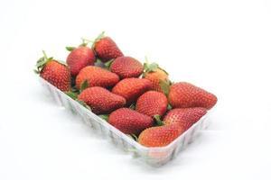 Erdbeeren in einem Plastikbehälter auf einem weißen Hintergrund foto