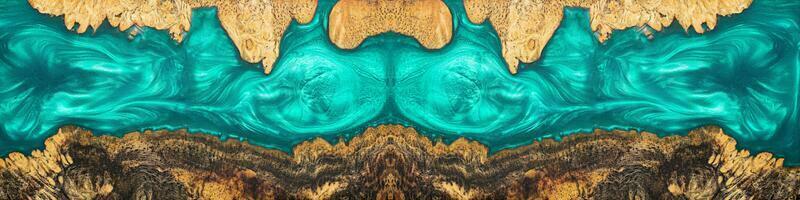 Draufsicht blau von Epoxidharz auf Wurzelholz foto