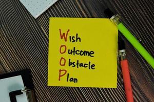 Woop - Wunsch Ergebnis Hindernisplan geschrieben auf einem Papierkram isoliert auf Holztisch foto
