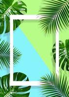 tropischer Blattrahmen auf einem blauen und grünen Hintergrund foto