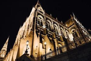 das ungarische parlament in budapest an der donau im nachtlicht der straßenlaternen