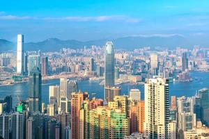 Skyline der Stadt Hongkong mit Blick auf den Hafen von Victoria
