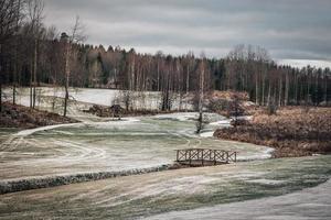 Golfplatz im Winter geschlossen foto