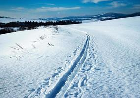 verschneite Winterlandschaft mit Skipfad foto