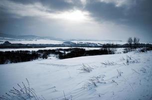 düstere Winterlandschaft mit Schnee foto