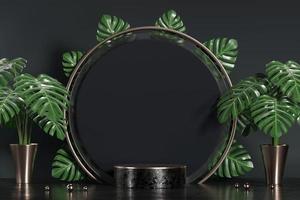 abstraktes schwarzes Podium für Produktanzeige-Schaufenster mit Monstera-Blattdekoration, 3D-Hintergrund-Rendering