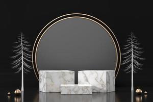 Marmor-Podium für Produktanzeige-Schaufenster im schwarzen Hintergrund, 3D-Rendering