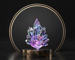 bunter Kristall auf Bühnenpodest Vitrine, 3D-Rendering foto