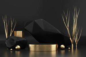 abstraktes elegantes luxuriöses goldenes Bühnenpodest, 3D-Darstellung foto