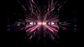 abstrakte 3D-Illustration von leuchtenden geometrischen Mustern auf schwarzem Hintergrund foto