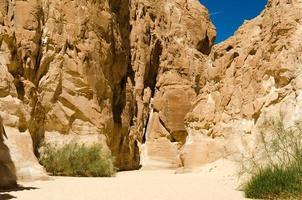 Wüstenschlucht mit hohen Steinklippen