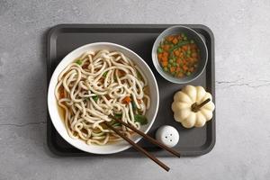 Draufsicht des köstlichen Nahrungsmittelkonzepts mit Kopierraum foto