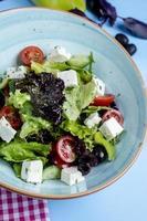 Gemüsesalat mit viel Grün und weißem Käse