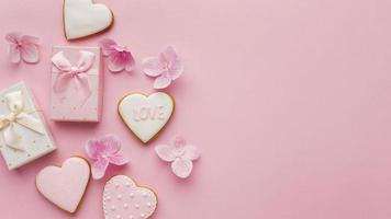 Draufsicht des Valentinstagskonzepts mit Kopienraum foto