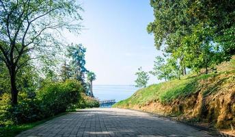 Straße in einem Park mit Blick auf das Meer foto