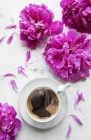 rosa Pfingstrosenblüten und eine Tasse Kaffee foto