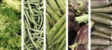 Collage aus grünem Gemüse foto