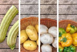 Collage aus buntem Gemüse foto