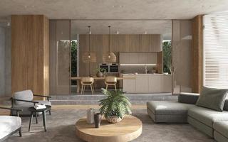Blick auf die Küche vom Wohnzimmerbereich foto