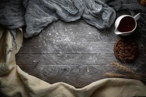 Weizen-, Mehl- und Käsetuch mit Kopierraum foto
