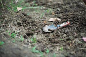 Nahaufnahme des schmutzigen Pflanzlöffels auf dem Boden landet mit unscharfem Vordergrund des Grases foto