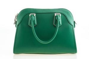 schöne Eleganz und Luxusmode grüne Handtasche foto