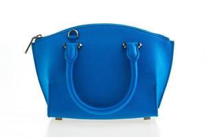 schöne Eleganz und Luxusmode Frauen und blaue Handtasche foto