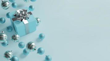 blaues Weihnachtsgeschenk mit Kopienraum foto